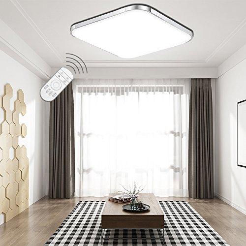 ETiME® LED Deckenleuchte Dimmbar Deckenlampe LED Modern Wohnzimmer Lampe Schlafzimmer Küche Panel Leuchte 2700-6500K mit Fernbedienung Silber (53x53cm 36W Dimmbar) Küche Blind