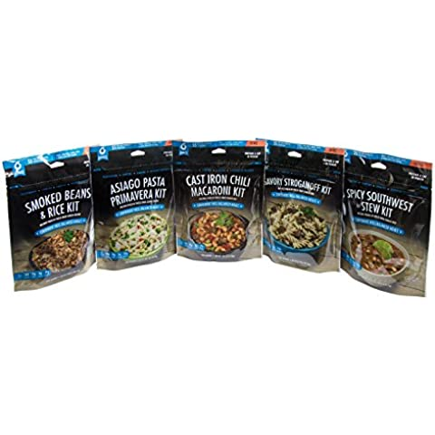 Bannock Freeze Dried Camping Meals - 5 Lunch / Dinner Entree Sample Pack - 2.5 Servings Each Pouch - Easy Cook In Pouch Hiking, Backpacking, Outdoor Camp Food by Bannock