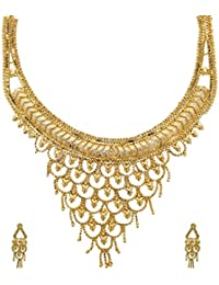 Mansiyaorange One Gram Gold Original Real Look Party Wedding Wear Golden Necklace Sets For Women(6 INCH LONG)