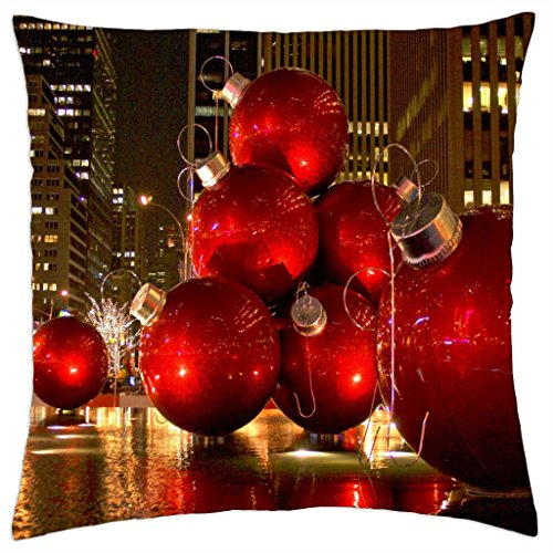 Red Christmas Tree Ornaments - New York City - Throw Pillow Cover Case (18