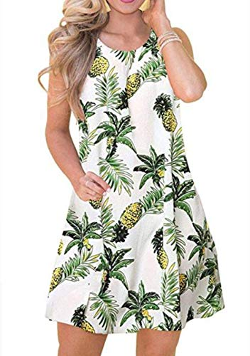 OMZIN Damen Ärmellos Casual Swing Tunika Tshirt Kleid für Strand Kleid für Damen,Weiß,XL