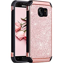 BENTOBEN Coque Samsung S7, Coque Galaxy S7, Etui Housse de Protection Antichoc Pailletté Brillante Durable Résistante 2 en 1 Hybride PC Robuste + TPU Souple pour Samsung Galaxy S7 (G930), Or Rose