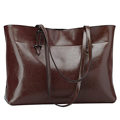 S-ZONE Women's Vintage Genuine Leather Tote Shoulder Bag Handbag (Coffee)