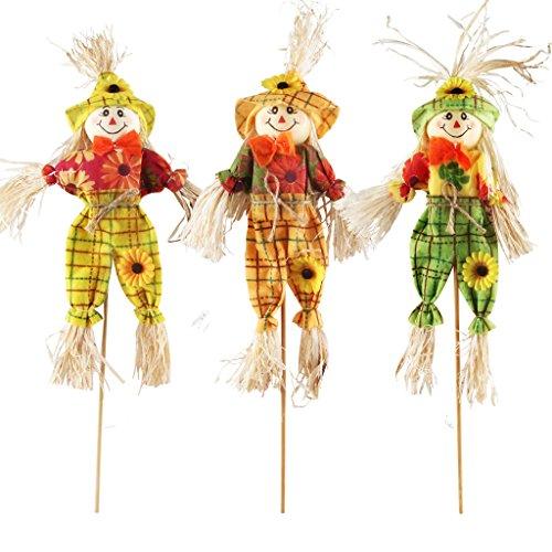 Herbst-Ernte Vogelscheuchen-Dekoration von IFOYO, Vogelscheuche auf einem Stab, Halloween-Dekorationen für Garten, Haus, Hof, Veranda, Erntedank-Dekoration Small 3 Pack