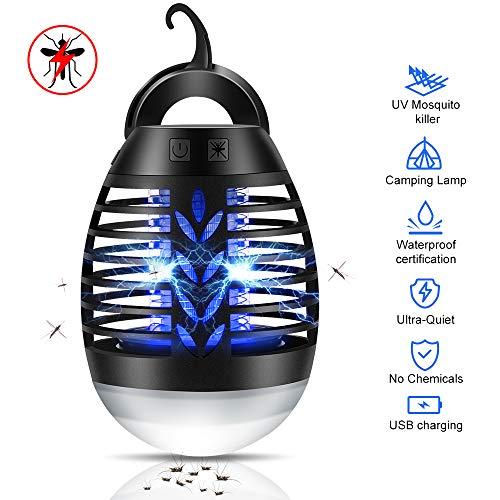 Bug Zapper Light, Repelente de Mosquitos, lámpara de Camping Repelente, Trampa para Insectos eléctrica UV sin pulg. Fly Zapper, Impermeable para Acampar en Interiores con Gancho retráctil