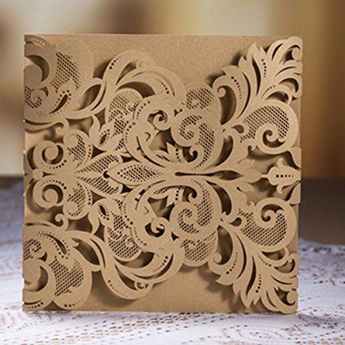 Musuntas 50pcs Lujo DIY Laser Cut invitación de la boda del cordón del vintage de la boda Plantilla floral Invitar cubierta de la tarjeta