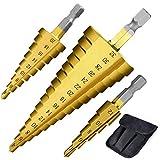 Set di Punte a Gradini Kit di 3 Punte Tonde HSS punte in titanio 4-12/4-20/4-32 mm Trapano in Titanio ad Alta Velocità, Cono Punta del Trapano per Perforazione in Legno/Acciaio/Plastica