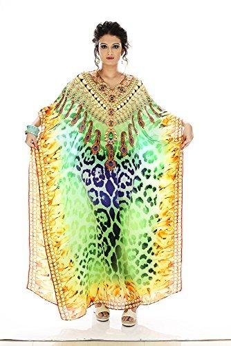 Da donna crespo stampato Turco kaftani caftano beachwear costumi da bagno del bikini Coprire Abito Spiaggia Mantello di D G PRINTS FAB (stile no. 0001)