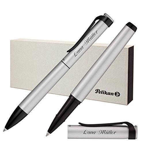 Pelikan Schreibset Stola III Kugelschreiber und Tintenroller Silber mit persönlicher Laser-Gravur matt Beschläge mit schwarzem Lack-Finish