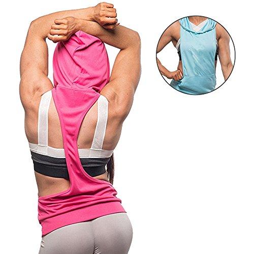 KINDOYO Femme Sans Manches Yoga Gilet Sweat à Capuche Débardeur Sous-vêtements de sport Aptitude Coton Maillots de corps Chemise Rose