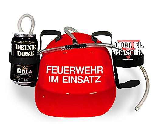 Trinkhelm Spaßhelm mit Printmotiv - Feuerwehr im Einsatz - 51645 - versch. Farben zur Wahl Farbe rot
