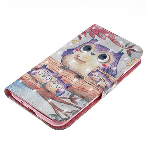 Samsung J3 2016 Hülle , Caselover Tasche für Galaxu J3 2016 Premium Geldbeutel Kunstleder Flip Taschenhülle Handytasche Rückseite Schale für Samsung Galaxy J3 (2016) (5.0 zoll) Magnetverschluss Karten Eule