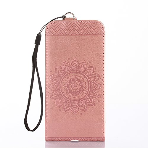 JAWSEU Coque Etui pour iPhone 6/6S 4.7,iPhone 6 Leather Case with Strap,iPhone 6S Etui en Cuir Folio Flip Wallet Cover Case,2017 Neuf Style Femme Homme Up and Down Unlock Holster Rabat Portefeuille ét rose or