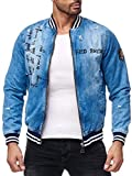 Red Bridge Herren Jeansjacke Übergangsjacke Collegejacke Patch Blue Denim Blau M