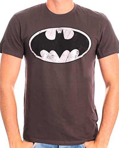 Batman Herren T-Shirt Batman Logo Metal Grau - Gris (Antrhacite)