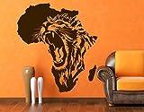 Wandtattoo No.CG135 Das Herz von Afrika Afrika Löwe Wildnis Savanne Wüste, Farbe:Schwarz;Größe:101cm x 90cm