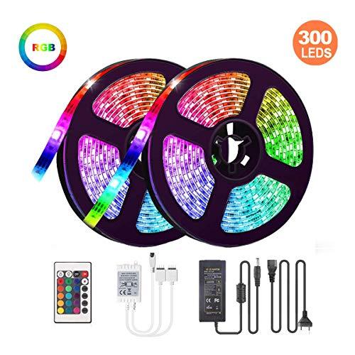 LED-Streifen-Licht 10M, 16 RGB-Farben LED Beleuchtung mit Fernbedienung Dimmen selbstklebend, IP65 Wasserfestes LED Lichterkette Inkl. 12V Driver für Zuhause, Schlafzimmer, TV, Decke, Schrankdeko -