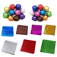 Merssavo 100 pieces Aluminum paper packaging for candy chocolate gift cookie color random 10x10cm