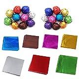 Merssavo 100 Stück Alufolie Verpackung Süßigkeit Keks Geschenk Zufällige Farbe 10x10cm