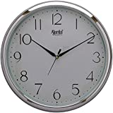Ajanta Wall Clock For Home And Offices (28 Cm X 28 Cm , Step Movement, Silver)