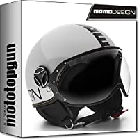 MOMO-DESIGN CASCO MOTO FIGHTER EVO BLANCO CUARZO POLISH NEGRO S
