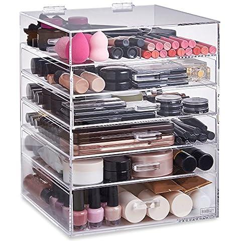 Beautify Grand Rangement 6 niveaux Maquillage – 5 tiroirs et séparateurs amovibles - Acrylique