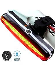 Sunspeed Eclairage Arrière Vélo Eclairage Velo Puissant Lampe Velo Led Rechargeable, 6 Modes , Résistant à l'eau, Feu arrière Pour VTT VTC, Assurer la sécurité et visibilité