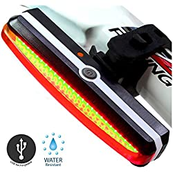 Sunspeed Luces Traseras de Bicicleta Impermeable de USB Recargable Modos de 6-Luces para Seguridad de Ciclismo Deporte de Aire Libre