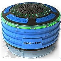 Radios de Ducha - Hydro-Beat Illumination. Altavoz IPX7 portátil totalmente resistente al agua con radio FM integrada y luces de ambiente LED. Recargable usando el micro USB. (Azul y Negro)