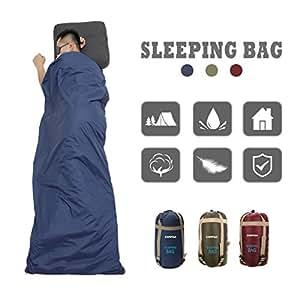 CAMTOA Sac de couchage Envelope en coton 190x75cm - étanche - super léger, Ultra-économie de l'espace pour voyage randonnée trekking camping , Bleu foncé-A, 190x75cm