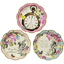 Talking Tables Truly Alice in Wonderland Paper Plates for Birthday, Wedding, Tea Party and Party Celebrations, Mad Hatter Party, Dia 18cm (12 Pack in 3 designs)
