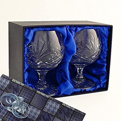 Two Brandy Glasses, Two Fully Cut, 24% Lead Crystal Brandy Glasses, in a Satin Lined Presentation Box with Gift Wrap and Ribbons as shown, Wedding, Anniversary, Birthday, Retirement