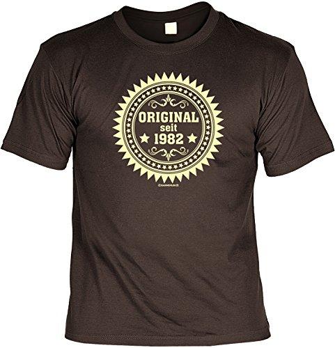 Witziges Geburtstags-Spaß-Shirt + gratis Fun-Urkunde: Original seit 1982 Braun