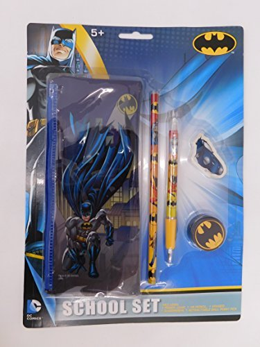 Batman School Stationery Set with Pencil Case, Pencil, Eraser, Sharpener and Pen