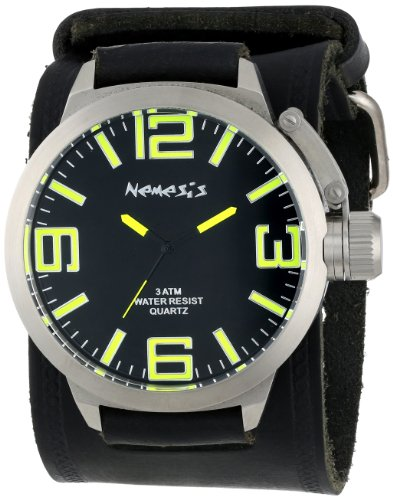Nemesis Men's HST022Y Oversized Collection Yellow/Black on Embossed Black Watch