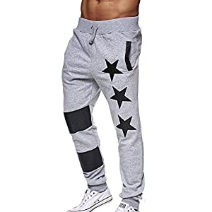 Kunfang Männer Kordelzug Sporthosen Schmale Passform Sporthosen Pentagramm Elastische Taille Fitness Hose M-2xl