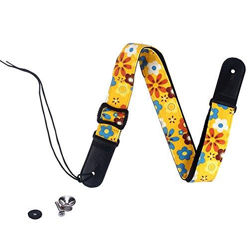 Fashion Bright color arcobaleno Djustable 100% cotone e tracolla in vera pelle tracolla per ukulele, F