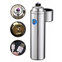 Arc Lighter Windproof ONENICE Dual Arc Beam Cigarette Lighter Rechargeable USB Electronic Lighters Elegant Gift Box Packaging No Gas Flameless (Silver)
