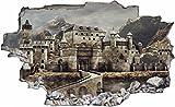 DesFoli Ritter Burg 3D Look Wandtattoo 70 x 115 cm Wanddurchbruch Wandbild Sticker Aufkleber C620
