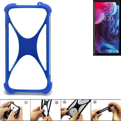 K-S-Trade® Handyhülle Für Archos Oxygen 63XL Silikon Schutz Hülle Cover Case Bumper Silikoncase TPU Softcase Schutzhülle Smartphone Stoßschutz, Blau (1x),