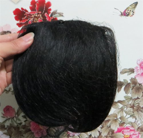 20,3 cm naturel noir (# 1B) cheveux humains véritables cheveux Fashion avant Neat Bang franges One cheveux