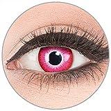 Farbige Kontaktlinsen zu Fasching Karneval Halloween in Topqualität von 'Glamlens' ohne Stärke 1 Paar Crazy Fun rosa weiße 'Emine' mit Behälter