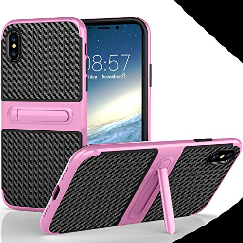 iphone X Foldable Stand Case, Very Light Slim Gentlemans Carben Fiber Style, WEIFA 2017 Newest Super Cool Anti-Drop Protection Armor CellPhone Cover Case For iphone X Red !Pink