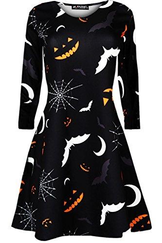 Oops Outlet Kinder Halloween Langärmlig Mädchen Top Pumpkin Spinne Ghost Gespenstisch Halloween Swing Kleid - Unheimlich Schläger, 134-140