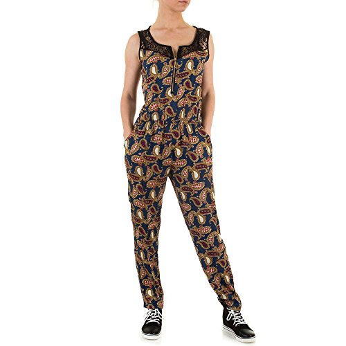Damen Overall Spitzen Bluse Jumpsuit Hose Hosenanzug Strampler Print Blau ONE SIZE