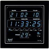 Ajanta Quartz Digital Blue LED Square Wall Clock OLC - 302 (25.4 cm x 25.4 cm x 3.5 cm)