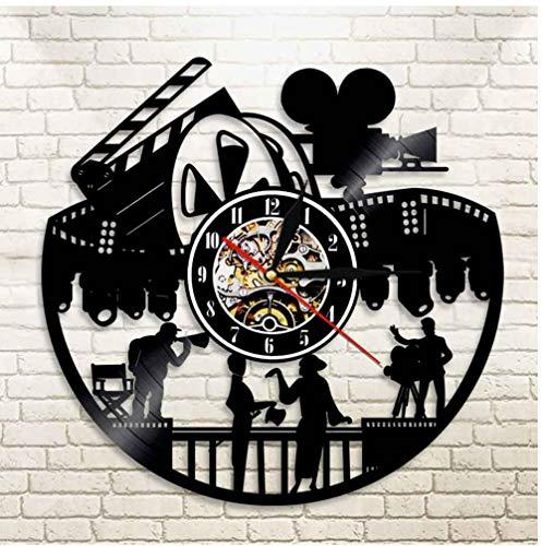 LED Cinema Theatre Wall Art Decoración para el hogar Reloj de pared Actor temporario Producción de películas Amantes del cine Regalo Retro Antiguo disco de vinilo Reloj de pared Diámetro: 30 cm