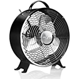 Edelstahl Tischventilator 29 cm (Boden-Ventilator mit 2 Stufen, 1300 U/Min, Luftumwälzer, stabiler Standfuß, schwarz)