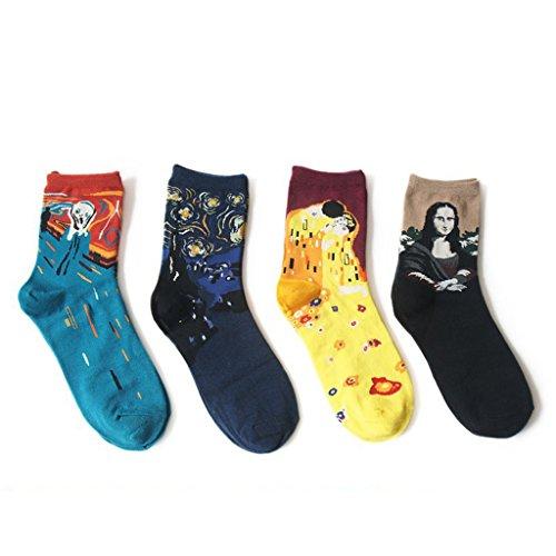 Jiayiqi Söckchen Frauen Berühmte Mona Lisa Sternennacht Besatzung Socken 4 Paare