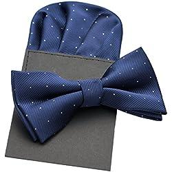 PenSee Pajarita y pañuelo a juego de seda para hombre, diseño de lunares, varios colores azul azul marino Talla única